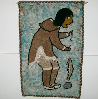 Artist: Agnes Nulluq Iqqugaqtuq, Title: Qiviut Work: Woman Fishing, 1983 - click for larger image