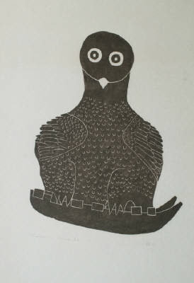 Artist: Davidialuk Alasua Amittu, Title: Owl On Kamotik, 1961 - click for larger image