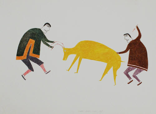 Artist: Jessie Oonark, Title: Hunters With Caribou, 1967 - click for larger image